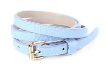 Thin leather belt isolated on white