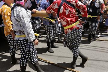山車の楫方たち(愛知県・尾張西枇杷島祭り)