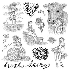 Black and white design set with kids drinking milk, pinup girl, lettering and decorations. Hand drawn design illustrations