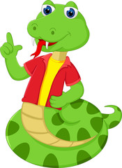 cute snake cartoon pointing finger with smile