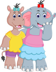 sweet hippo and elephant cartoon friendly with hug and smile