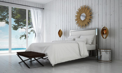 The luxury white bedroom interior design and wood wall background and sea view / 3D rendering new scene interior design