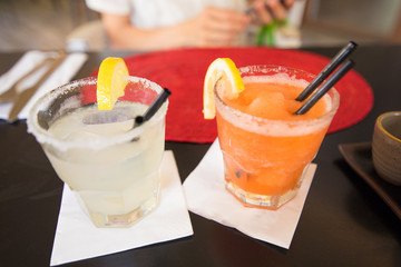 two margarita one with strawberry