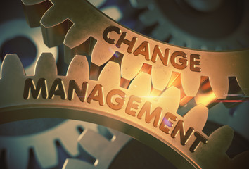 Change Management on the Golden Gears. 3D Illustration.