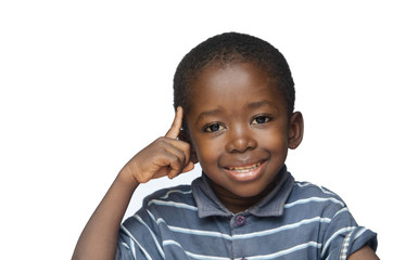 Ideas and Creativity for Africa: little black boy pointing his finger to his head thinking