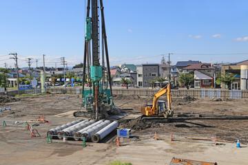 ビルの基礎工事