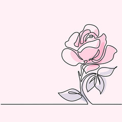 Beautiful soft color rose flowers. Continuous line drawing. Vector illustration