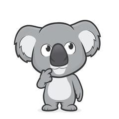 Koala in thinking gesture