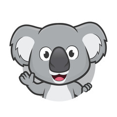 Koala waving in round frame