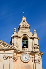 St Pauls Cathedral bell tower also known as Mdina Cathedral, Mdina, Malta.