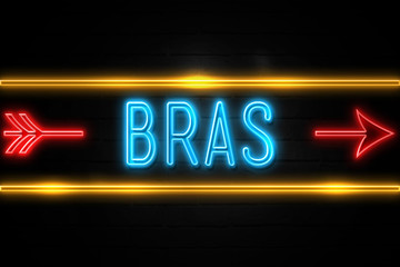 Bras  - fluorescent Neon Sign on brickwall Front view