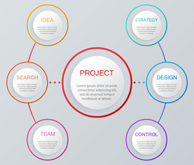 Infographic elements set. Usable for workflow layout diagram annual report web design presentation. Business concept with options parts steps or processes. Infographic background. Vector illustration