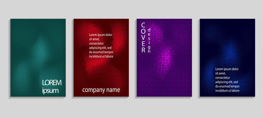 Minimalistic abstract vector halftone cover design template. Future geometric background. Vector templates for placards, banners, flyers, presentations and reports