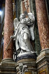 Statue of the Archangel Michael inside St Pauls Cathedral also known as Mdina Cathedra, Mdina, Malta.