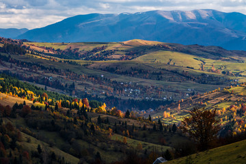 autumn afternoon  in mountainous countryside