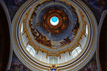 Dome showing a crucifixion scene inside St Pauls Cathedral also known as Mdina Cathedral, Mdina, Malta.