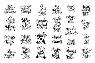 set of 25 hand lettering inscription magical dreams