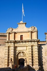 Footbridge leading to the Town Gate and city centre, Mdina, Malta.
