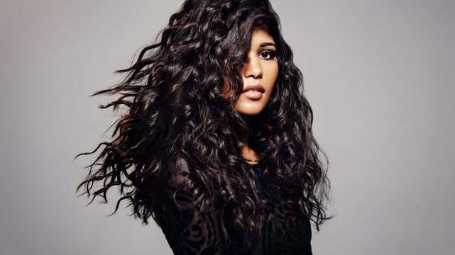 Fashion model with wavy hairstyle