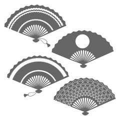 Grey fans silhouettes on white backdrop, vector illustration