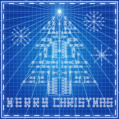 The electronic board in the form of a Christmas tree on blue background. Vector illustration.