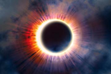 Full solar eclipse, astronomical phenomenon - full sun eclipse. The Moon covering the Sun in a partial eclipse. 3D illustration.