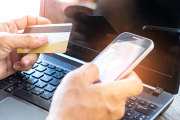 Money concept,Online payment by credit card,Using smart phones online credit card payment.