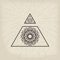 All seeing eye vintage background