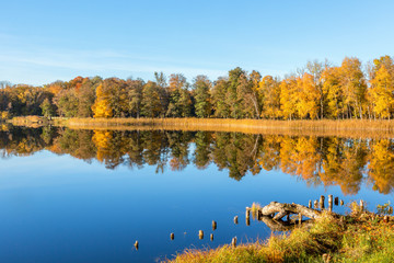 View of a lake with autumn colors on the trees