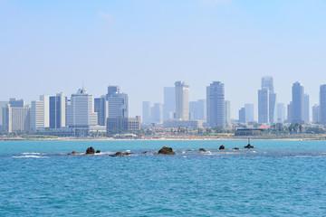 TEL AVIV, ISRAEL - APRIL, 2017: view of the skyscrapers of Tel Aviv from the Mediterranean Sea.