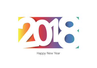 Happy new year 2018 with colorful stype background. Vector illustration