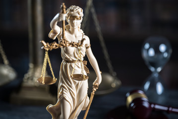 law symbols in courtroom
