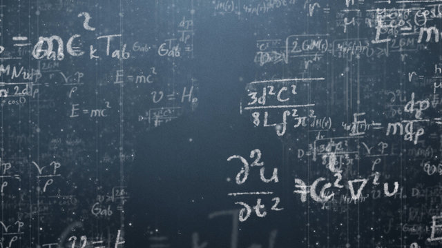 Background shot of blackboard with scientific and algebraic formulas and graphs written on it in graphics. Business concept - sketch with schemes and graphs on chalkboard. 3D Graphics cartoon formula