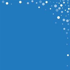 Falling white dots. Abstract right top corner with falling white dots on blue background. Vector illustration.