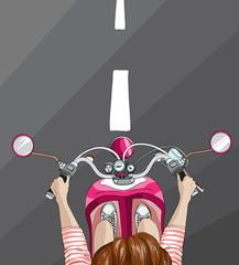 Woman on bike, top view