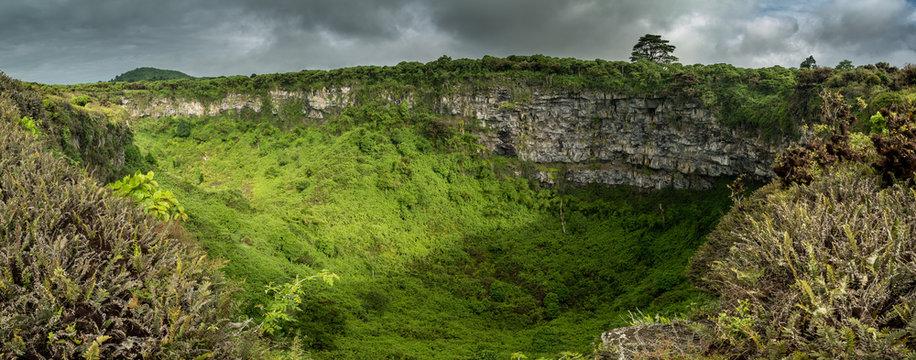 Los Gemelos Erdfall umgeben von Scalesia Wald auf Isla Santa Cruz
