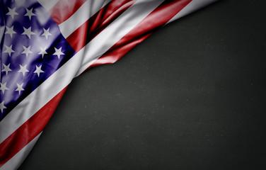 Flag of USA on blackboard