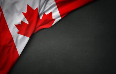 Flag of Canada on blackboard