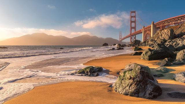 Golden Gate Bridge from the beach in San Francisco.