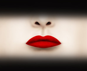 Spoed Fotobehang Surrealisme Red Scarlet Lipstick