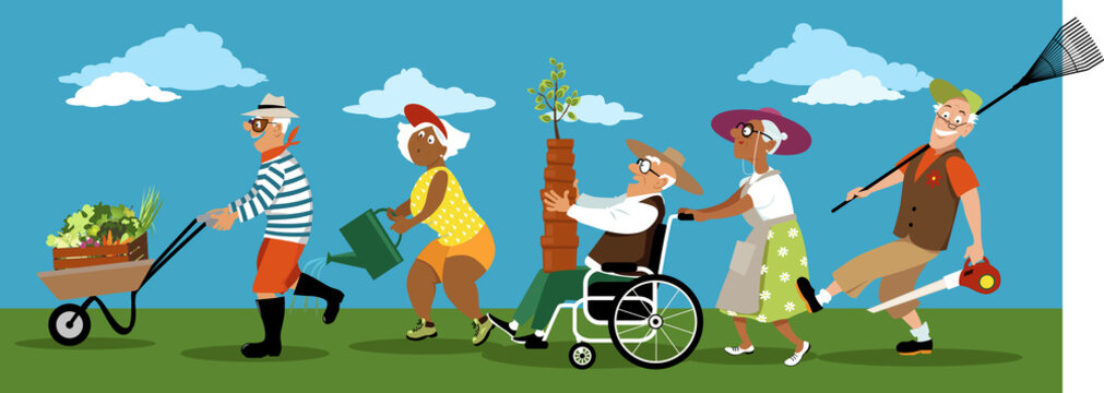 Diverse group of active senior citizens with gardening tools, pots, plants and produce, EPS 8 vector illustration, no transparencies
