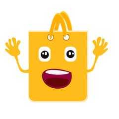 Cartoon joy shopping bag. Sale.