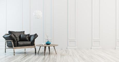 Salotto con divano in pelle nero, minimal, render