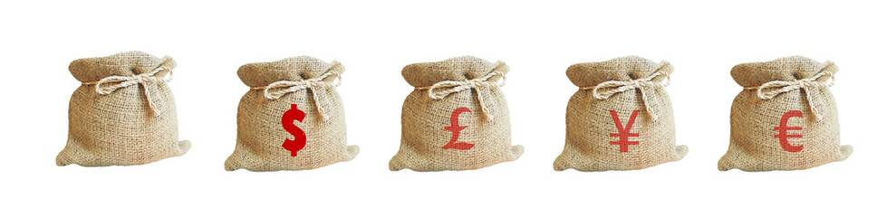 The bag sackcloth isolated with symbol of money on white background. The bag sackcloth money bag.  Concepts of successful for business.