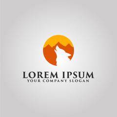 wolf logo. mountain landscape design concept template