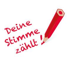 Deine Stimme zählt! - Roter Stift mit Handschrift