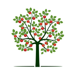 Green Tree with red Apples. Vector Illustration.
