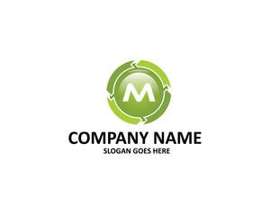 m letter circle arrow logo