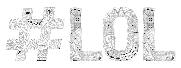 Word LOL with hashtag for coloring. Vector decorative zentangle object