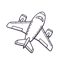 Vector illustration. Hand drawn doodle of toy plane. Travel by airplane transport. Cartoon sketch. Isolated on white background